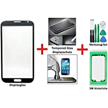 iTech Germany PREMIUM Affichage kit de réparation de verre pour Samsung Galaxy Note 2 en Gris Titane - Avant écran externe tactile pour N7100 N7105 LTE + Protecteur de Verre Trempé, 3M Adhésif pré-découpé et 7-Pièce ensemble d'outils