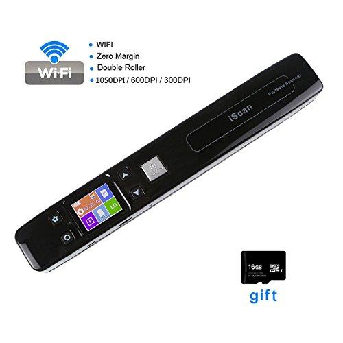 Handscanner, FLAGPOWER Portable Hand Scanner 1050dpi Tragbar Scanner Wireless Visitenkartenscanner Dokumentenscanner mit 16GB Mikro SD Karte (Schwarz) (Mikro-drucker)