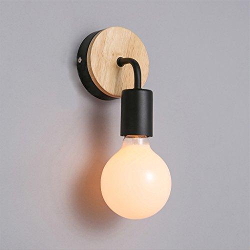 Swing Arm Wand Lampe (JIAHONG Moderne kreative Wandlampe Eisen Holz Wand Nachttisch Lampe Schlafzimmer Restaurant Korridor Wand Lampe E27 Led Birne ( Farbe : Schwarz ))