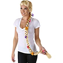 Largo Rubio trenzado flor peluca para mujer enredado rodmann Fairy Tale Rapunzel