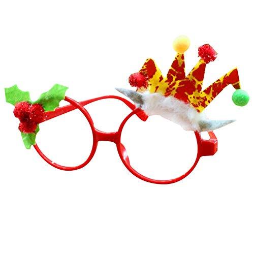 Weihnachten Kostüm Urlaub - Delisouls Weihnachten Glitzer Party Brille, Neuheit Weihnachten Brillengestell, Glänzend Santa Brille Süße Weihnachten Brille für Party Kostüm Urlaub Aufmerksamkeiten - H