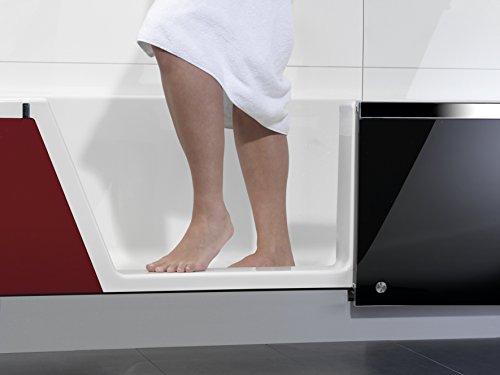 Repabad Easy-In Badewanne mit Tür und Dusche 170 cm Ausführung links Ecke links Front Glas Dark black