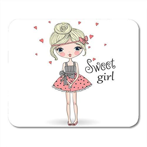 Luancrop Mausunterlage-rosa junges schönes nettes süßes Mädchen im reizend Kleid Mousepad für Notizbücher, Tischrechner-Mausunterlagen, Büroartikel -