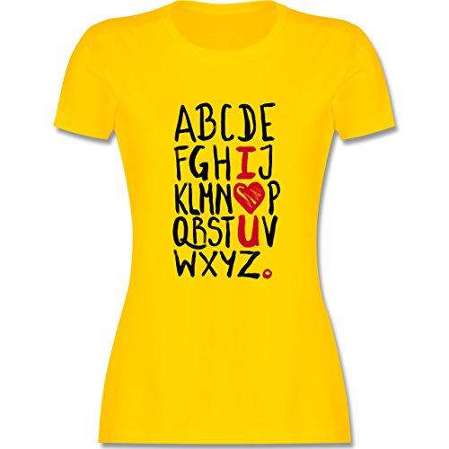 Romantisch - I <3 U - ABC - tailliertes Premium T-Shirt mit Rundhalsausschnitt für Damen Gelb