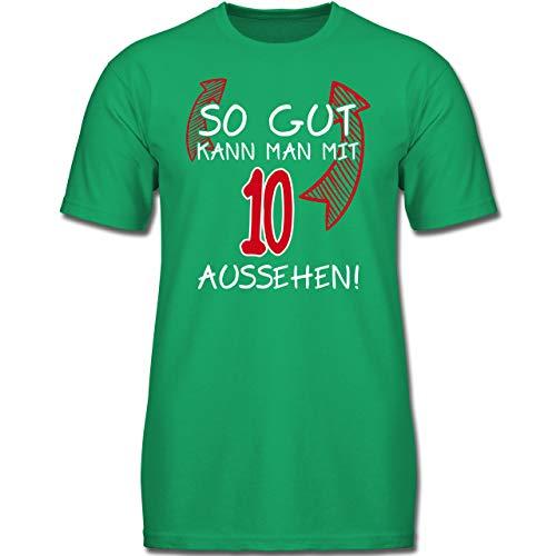 Verrückte Jungs T-shirt (Geburtstag Kind - So gut kann Man mit 10 Aussehen - 140 (9-11 Jahre) - Grün - F130K - Jungen Kinder T-Shirt)