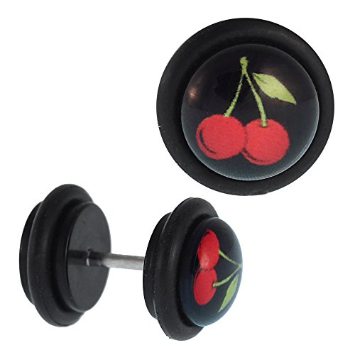 Gewölbten Blättern (Chic-Net Fake Piercing Plug schwarz Kirsche rot mit Blatt grün Gummiring 7 mm Dehner Expander Flesh Lobe Ohrstecker Ohrring 50er 60er Rockabilly)