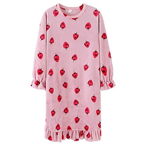 DISCOUNTL Coral-Fleece-Schlafanzug für Mädchen, dick, warm, lang, lose Lose, Strawberry, langärmlig, Flanell, Nachthemd für Damen, Bademäntel für Frauen Gr. Medium, Rose
