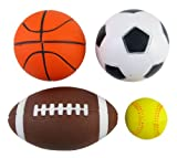 Set of 4 Soft PU Mini Sports Balls for Kids (Football, Basketball, Soccer, Baseball) by Liberty Imports