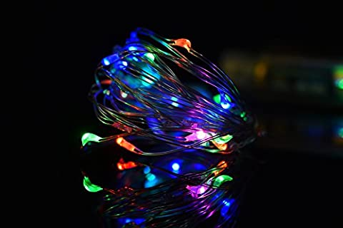 Amazlab T1R3 Soft Copper Wire Twine Micro LED String Lights, 30 LED Bulbs Starry Indoor Outdoor Decorative Fairy Lights and 3 AA Batteries Operated. 3m, Set of 3, Rainbow