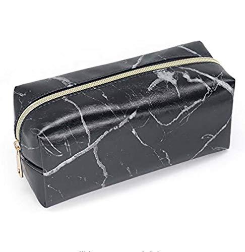 eetui, Marmorstruktur, PU-Leder, Bleistift-Organizer für Studenten, Schreibwaren, Schule, Büro, Aufbewahrung, Kosmetik, Make-up-Tasche, 20 x 10 x 8 cm Marble-Black ()