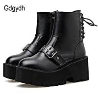 SILGGXNB Tied Platform Shoes Girls Ankle Boots Buckle Strap High Heel Women Black Leather Boots Female Fashion Rivet