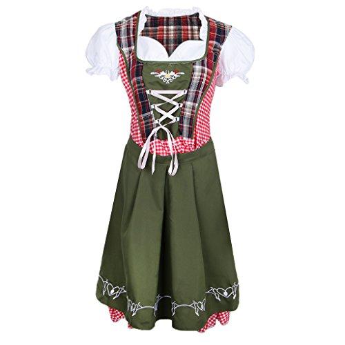 Homyl Midi Dirndl Set Trachtenkleid Schürze, für Oktoberfest -