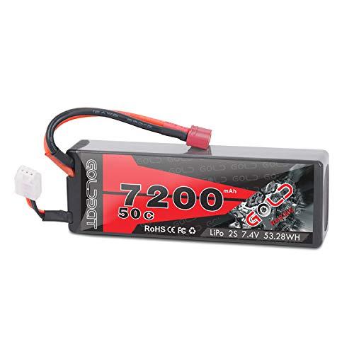GOLDBAT Lipo Akku 7200mAh 7,4V 50C 2S RC Batterie mit Deans Stecker Batterie Ersatzakku für Flugzeug Helikopter Boot Buggy Wing RC Car RC Auto
