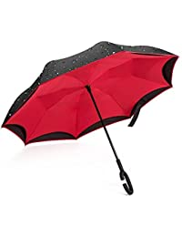 Giwox Parapluie Inversé--Style Long,Ouverture&Fermeture à Envers,Double-Toile Bicolore,Poignée Courbé de Caoutchouc,8 Baleines en Fibre de Verre Inoxydable--124cm Gros Diamètre,Anti-vent/neige(manuel)