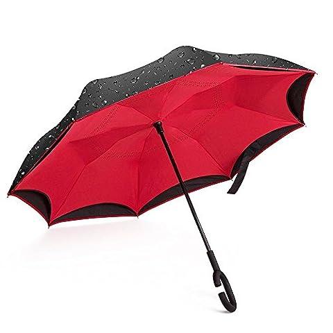 Giwox Parapluie Inversé Ouverture&Fermeture à Envers Double-Toile Bicolore Poignée Courbé de Caoutchouc avec 8 Baleines en Fibre de Verre Inoxydable 124cm Gros Diamètre Anti-vent et neige (manuel) (Rouge+Noir)