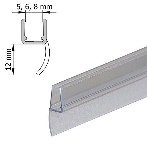 DUSAR Dichtlippe Wasserabweisprofil Universal-Dichtleiste Dichtung senkrecht für 5,6,8 mm Glas Dichtlippe 12 mm Duschdichtung Silikon 2 m lang Dichtleiste Silikon Schmutzlippe Wasserabweiser