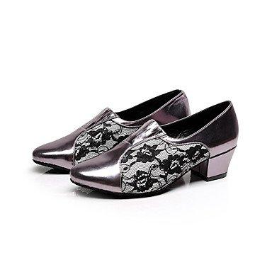 XIAMUO Anpassbare Damen Tanz Schuhe Beflockung Beflockung Latin/Salsa Sandalen Stiletto Heel Praxis/Anfänger Rot