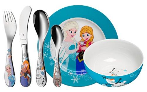 (WMF Disney Frozen Kindergeschirr, mit Kinder-/Gravurbesteck, 6-teilig, ab 3 Jahren, Cromargan Edelstahl poliert, spülmaschinengeeignet, mit individueller Namensgravur auf Rückseite)