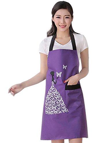 Moolecole Frauen Schürze Wasserdichte Latzhose Anti Öl Fleck Erwachsene ärmel PVC Schmetterling Pinafore Schürze Mit Einem Taschen Für Backen Kochen (Standard Erwachsene Kostüme Mann)