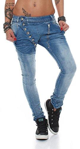 Fashion4Young 5857 MOZZAAR Damen Jeans Hose Röhrenjeans Haremshose...