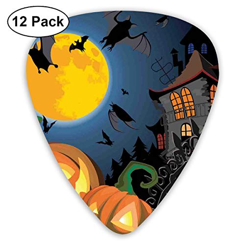 Guitar Picks12pcs Plectrum (0.46mm-0.96mm), Gothic Halloween Haunted House Party Theme Design Trick Or Treat Motifs Print,For Your Guitar or Ukulele