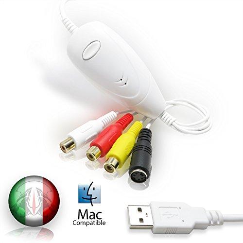 TECHSIDE Vhs Converter Analog Digital neue Version Goldene Kontakte | Kompatibel mit Mac OS Mojave High Sierra Leopard USB 2.0 Audio / Video-Aufzeichnung Video-aufzeichnung Dv-uhr