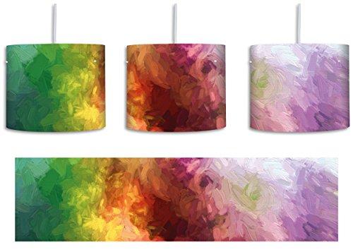 abstrakte bunte Wasserfarben Pinsel Effekt inkl. Lampenfassung E27, Lampe mit Motivdruck, tolle Deckenlampe, Hängelampe, Pendelleuchte - Durchmesser 30cm - Dekoration mit Licht ideal für Wohnzimmer, Kinderzimmer, Schlafzimmer - Effekte-pinsel