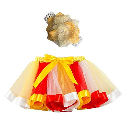 Mädchen Kinder Tutu Rock, zweiteiliges Set Party Tanz Ballett Kleinkind Baby Regenbogen Kostüm Rock + Stirnband Set Karneval Ostern (2Y-11Y)(Gelb,L)