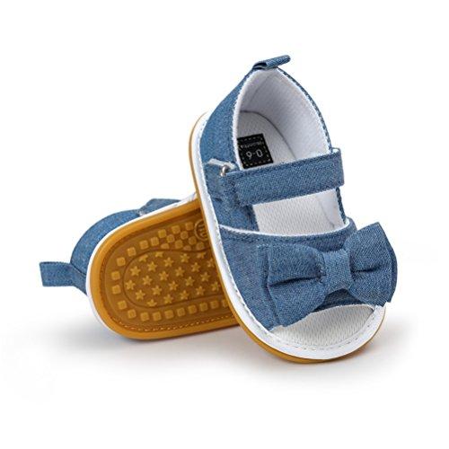 Sandali da Bambina, Bowknot Scarpe per Neonata Estive Scarpine Primi Passi (21 EU, Blu)