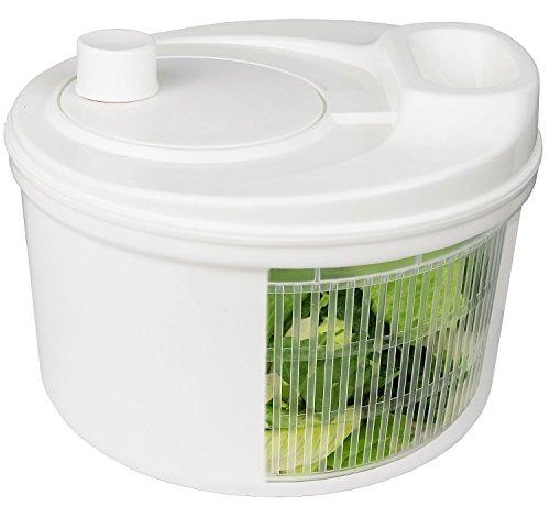 Greenco Easy Spin Manual Salad Spinner, 3.2 quart, White