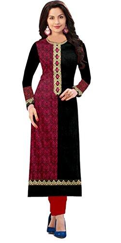Rhythm Women's Cotton Printed Semi-stitched Kurti (RTH 1015 F_Black and Pink_Free Size)