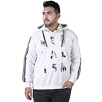 JOHN PRIDE Men's Plus Size Hood Neck White Pullover Sweatshirt (3XL Size)