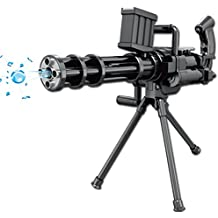 INvench Large Gatling Shooting Water Guns - Manually Continuous Launch Water Polymer Bullet Cap Pistol with Tripod for Kids Child Boys
