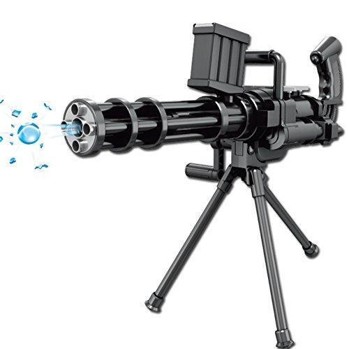 Großes Gatling Schießen Wasserpistolen-Manuell Ununterbrochenes Launch Wasser Polymer Bullet Cap Pistole mit Stativ für Kinder Kinder Jungen (Schwarz)