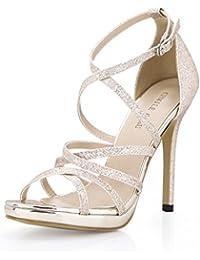 CHMILE Chau-Zapatos para Mujer-Sandalias de Tacon Alto de Aguja-Elegantes-Novia-Boda-Nupcial-Vestido  de Fiesta-Correa de Tobillo… 31c7cab9bf08