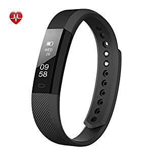 Fitness Tracker, AIEX Heart Rate Monitor Tracker Smart Watch With Touch Screen, Call/sms/sns Alert, Activity Tracker Sleep Monitor Smart Bracelet for Android and iOS (Black)