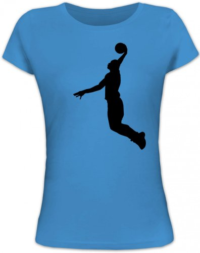 Shirtstreet24, BASKETBALL PLAYER, NBA Sport Lady / Girlie T-Shirt Fun Shirt Funshirt, Größe: S,blue lagoon (Basketball Blue Womens)