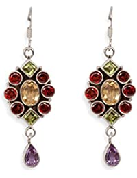 Silverwala 925-92.5 Sterling Silver Multi Stone Fashion Earring for Women and Girls