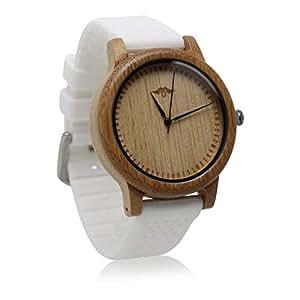 Herrenuhr Weißem Angie Mit Creations Armband Silikon Bambus Wood Und nk0OPX8w
