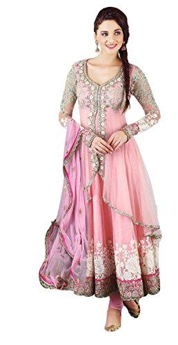 Myozz Women's Net Anarkali Salwar Suit Set (Kdsmc5001_Pink_Free Size)