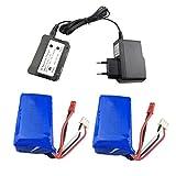 Fytoo Accessoire 2PCS 7.4V 1100mAh Batteries au Lithium + 1PCS 2 en 1 Chargeur de Batterie pour WLtoys A949 A959 A969 A979 S989 V912 T23 T55 F45 RC Voiture Drone Télécommandé Batterie à Haut Débit