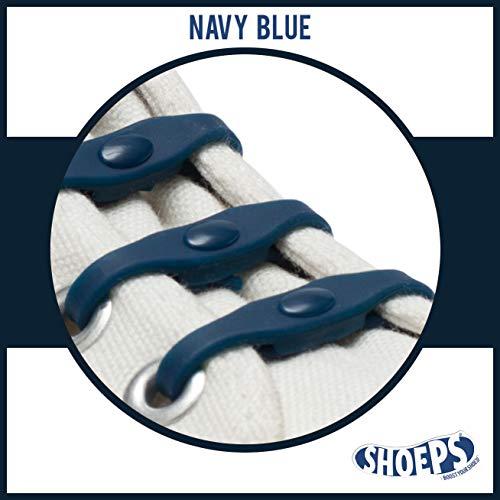 Shoeps - Lacci Elastici per Scarpe, 8-Piece, Bleu Marine