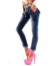 Designer Damen Jeans Secret Buttons Zipper Jeans Knöpfe Skinny Baggy Push Up