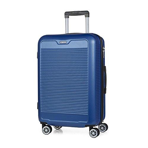 ITACA - T72060 Maleta trolley 60 cm mediana ABS. Rígida, resistente, robusta y ligera. Mango telescópico, 2 asas retráctiles. 4 ruedas dobles. Talla media., Color Azul
