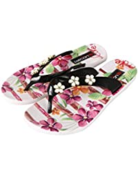 Falcon18 Designer Printed Flower Women's Flat Slippers for Summer