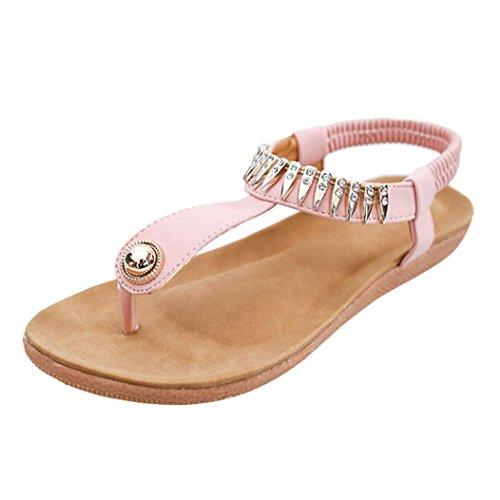 Koly_Pattini piani delle donne Perle Boemia per il tempo libero i sandali della signora Peep-Toe Scarpe Outdoor Pink