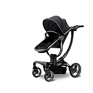 ZLMI Pushchairs 2 in 1 Baby Stroller Travel System Foldable Infant Buggy with Lightweight Fram Adjustable Seat 0-3 years old bb car,Black   9