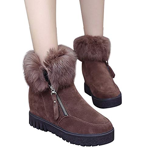 MYMYG Warmer Stiefel Schneestiefel Boots Kunstpelz Modische Dicke Plateauschuhe Zipper Wasserdicht Runde Zehe Schuhe Plattform Slip On für Damenschuhe Plüsch Winter Draussen Warmer Stiefel Boots