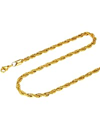 c5c47fdd1b1d FOCALOOK Collar Hombre Cadena Malla Cuerda 3mm Cadena Básica de Acero  Inoxidable Bañado en Oro Oro Rosado Negro 45-70cm…