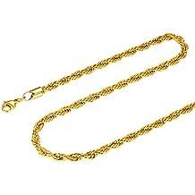 3e814b3c52f5 FOCALOOK Collar Hombre Cadena Malla Cuerda 3mm Cadena Básica de Acero  Inoxidable Bañado en Oro